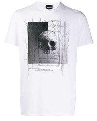 Camiseta con cuello circular estampada en blanco y negro de Just Cavalli