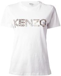 Camiseta con cuello circular estampada en blanco y negro de Kenzo
