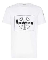Camiseta con cuello circular estampada en blanco y negro de Moncler
