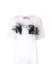 Camiseta con cuello circular estampada en blanco y negro de N°21