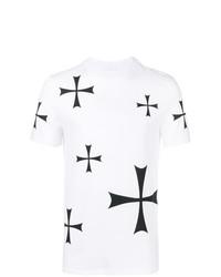Camiseta con cuello circular estampada en blanco y negro de Neil Barrett