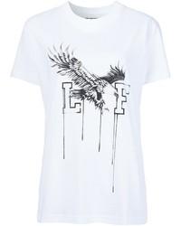 Camiseta con cuello circular estampada en blanco y negro de Off-White