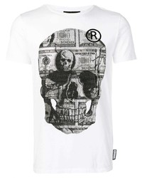 Camiseta con cuello circular estampada en blanco y negro de Philipp Plein