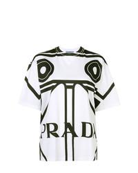 Camiseta con cuello circular estampada en blanco y negro de Prada