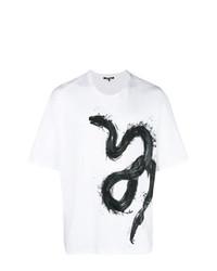 Camiseta con cuello circular estampada en blanco y negro de Roberto Cavalli
