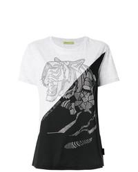 Camiseta con cuello circular estampada en blanco y negro de Versace Jeans