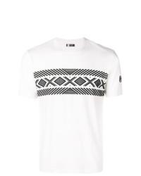 Camiseta con cuello circular estampada en blanco y negro de Z Zegna