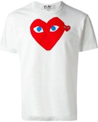 Camiseta con cuello circular estampada en blanco y rojo
