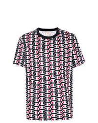 Camiseta con cuello circular estampada en blanco y rojo y azul marino de Champion