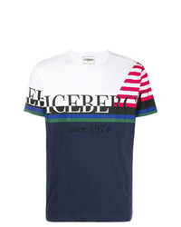 Camiseta con cuello circular estampada en blanco y rojo y azul marino de Iceberg