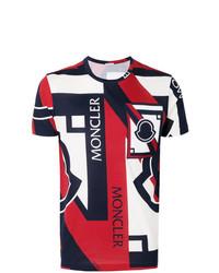Camiseta con cuello circular estampada en blanco y rojo y azul marino de Moncler