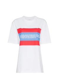 Camiseta con cuello circular estampada en blanco y rojo de Calvin Klein Jeans Est. 1978