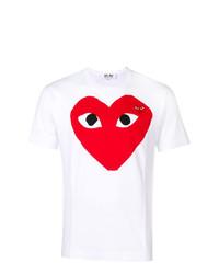 Camiseta con cuello circular estampada en blanco y rojo de Comme Des Garcons Play