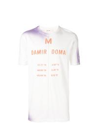 Camiseta con cuello circular estampada en blanco y rojo de Damir Doma