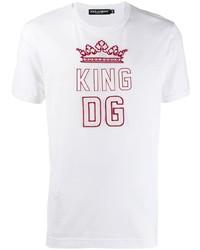 Camiseta con cuello circular estampada en blanco y rojo de Dolce & Gabbana