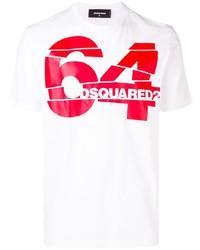 Camiseta con cuello circular estampada en blanco y rojo de DSQUARED2