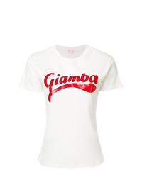 Camiseta con cuello circular estampada en blanco y rojo de Giamba