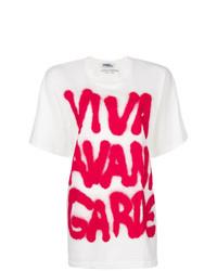 Camiseta con cuello circular estampada en blanco y rojo de Jeremy Scott