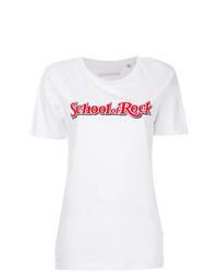 Camiseta con cuello circular estampada en blanco y rojo de Manokhi