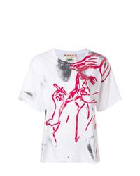 Camiseta con cuello circular estampada en blanco y rojo de Marni