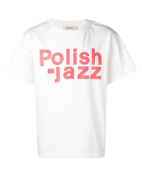Camiseta con cuello circular estampada en blanco y rojo de Misbhv