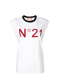 Camiseta con cuello circular estampada en blanco y rojo de N°21