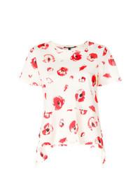 Camiseta con cuello circular estampada en blanco y rojo de Proenza Schouler