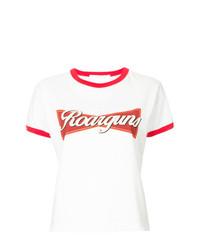 Camiseta con cuello circular estampada en blanco y rojo de Roarguns