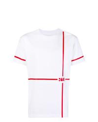 Camiseta con cuello circular estampada en blanco y rojo de RtA