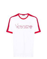 Camiseta con cuello circular estampada en blanco y rojo de Versace