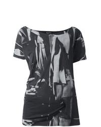 Camiseta con cuello circular estampada en gris oscuro de Ann Demeulemeester