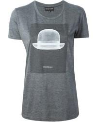 Camiseta con cuello circular estampada en gris oscuro de Emporio Armani