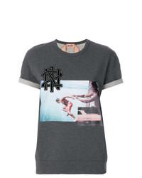 Camiseta con cuello circular estampada en gris oscuro de N°21