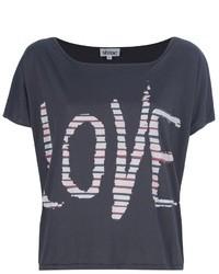 Camiseta con cuello circular estampada en gris oscuro de Shine