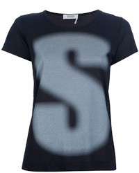 Camiseta con cuello circular estampada en gris oscuro de Sonia Rykiel