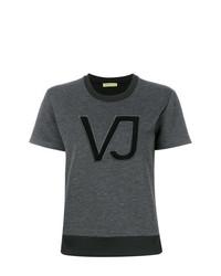 Camiseta con cuello circular estampada en gris oscuro de Versace Jeans