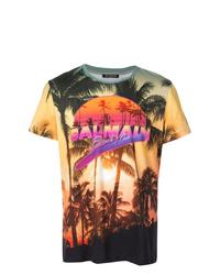 Camiseta con cuello circular estampada en multicolor de Balmain
