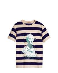 Camiseta con cuello circular estampada en multicolor de Burberry