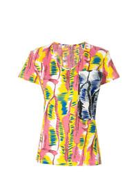 Camiseta con cuello circular estampada en multicolor de Marni