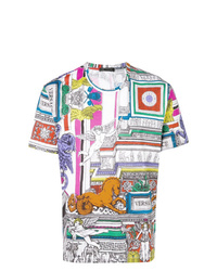 Camiseta con cuello circular estampada en multicolor de Versace