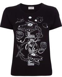 Camiseta con cuello circular estampada en negro y blanco
