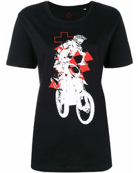 Camiseta con cuello circular estampada en negro y blanco de A.F.Vandevorst