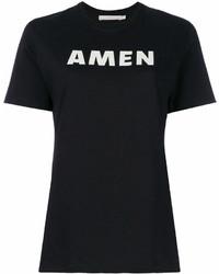Camiseta con cuello circular estampada en negro y blanco de Amen