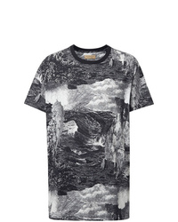 Camiseta con cuello circular estampada en negro y blanco de Burberry