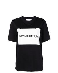 Camiseta con cuello circular estampada en negro y blanco de Calvin Klein Jeans Est. 1978