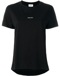 Camiseta con cuello circular estampada en negro y blanco de DKNY