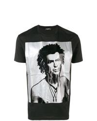 Camiseta con cuello circular estampada en negro y blanco de DSQUARED2