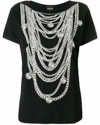 Camiseta con cuello circular estampada en negro y blanco de Just Cavalli