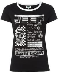 Camiseta con cuello circular estampada en negro y blanco de Kenzo