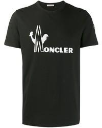 Camiseta con cuello circular estampada en negro y blanco de Moncler